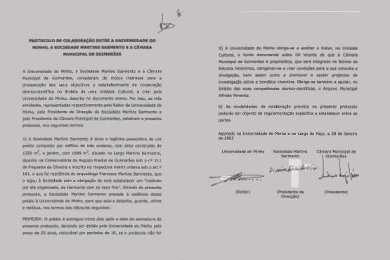 Protocolo entre a UMinho, o Município de Guimarães e a SMS